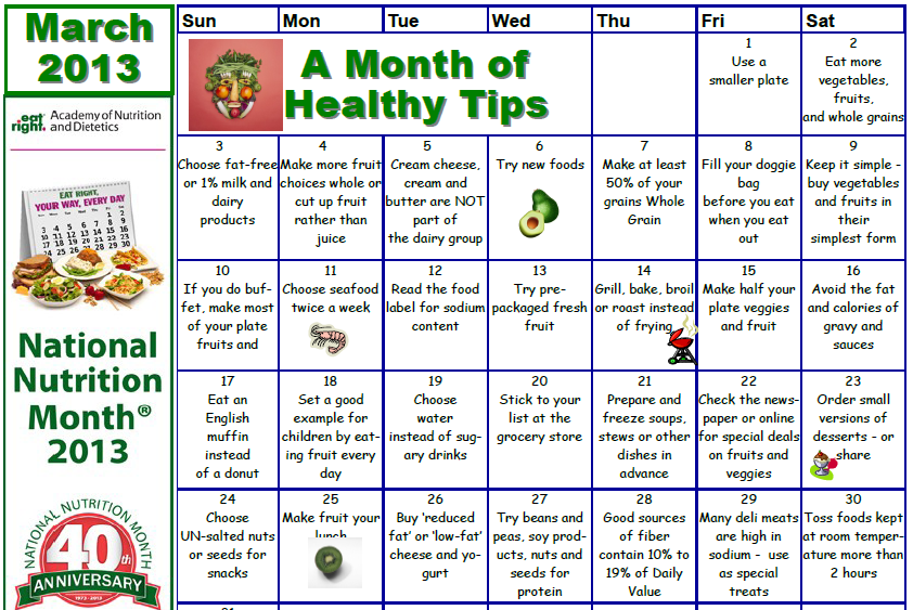National Nutrition Month – March   WANDA S. PARYLA