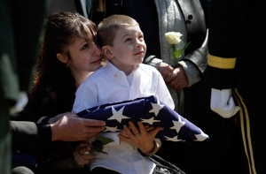 Little Boy Receives His Father's Funeral Flag
