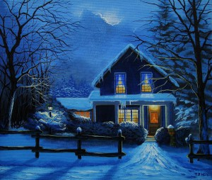 """Winter Home at Night"" Painting by Tom Hoy From fineartamerica.com"